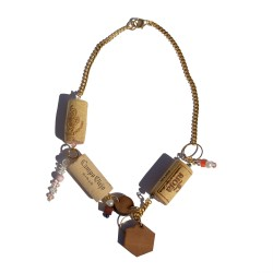 Necklace made with recycled corks and wood