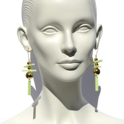 Light green long earrings...