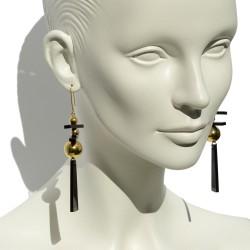 Black long earrings San...