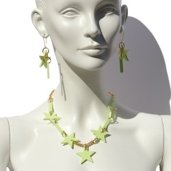 Light green stars necklace and earrings San Fabrizzio