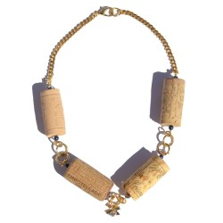 Necklace made with recycled corks and little bow
