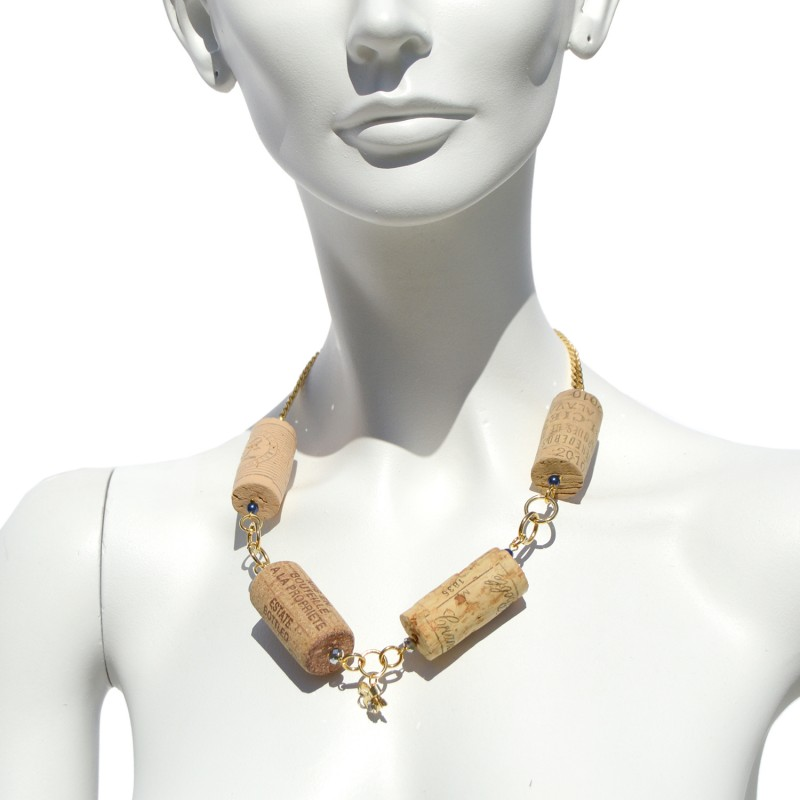 Necklace made with recycled corks and a little bow