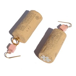 Earrings in recycled cork and wood