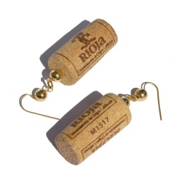 Earrings in recycled cork...