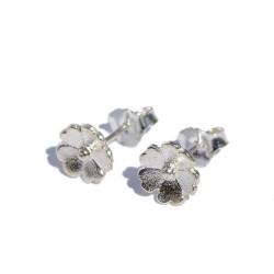 Pendientes flor en plata