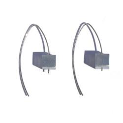 White aluminum cubic earring