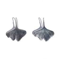 Long silver Ginkgo earring