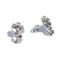 Pendientes dos flores plata