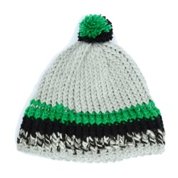 Grey Beanie Hat with Green...