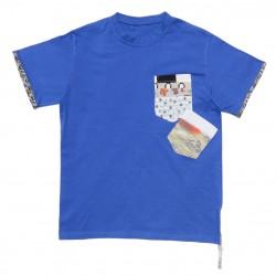 Camiseta azul manga corta...