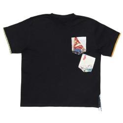 Camiseta azul marino manga corta con bolsillos de patchwork S