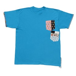 Cyan short-sleeve T-shirt...