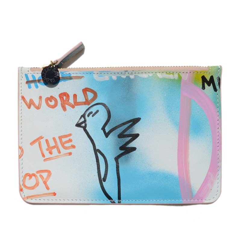 Pouch made in hand-painted leather