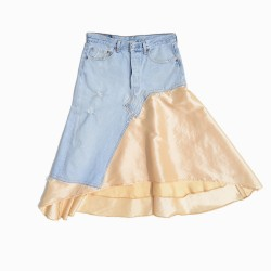 Upcycled denim skirt with a beige skirt