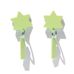 Pendientes verde claro Estrella con estela