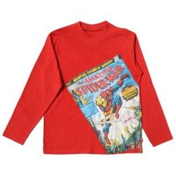 Camiseta roja de manga larga con aplicación en el frontal estampada con Spiderman.