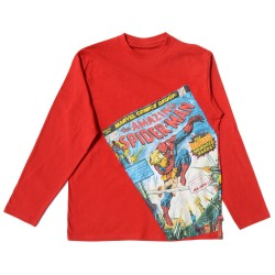 Red long-sleeve T-shirt with Spiderman comic cover