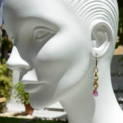 Copper gold earrings with colorful details