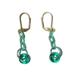 Copper gold earrings with green links and ring