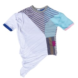 T-shirt in patchwork with white draped viscosa