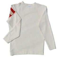 Cream Sweatshirt with frontal knit insert