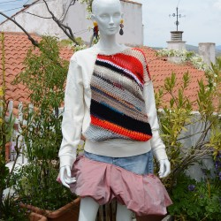 Cream Sweatshirt with frontal knit insert and upcycled skirt