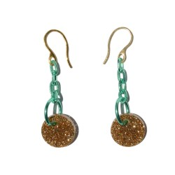 Earrings with green links and gold plexiglass medal hook closure