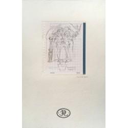 Dibujo Virgen en Altar