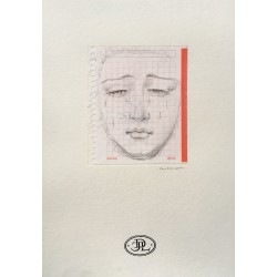 Drawing Virgin of Pain, made with pencil on gridded paper, mounted on 300 grams Canson Paper.