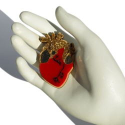 Red Heart plexiglass brooch