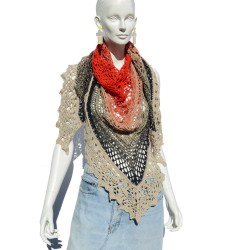 Handmade knit shawl red,...