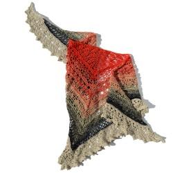 Handmade knit shawl red,...