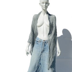 Grey handmade knit shawl